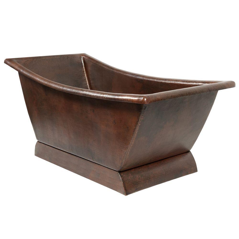 Premier Copper Products 5.58 ft. Hammered Copper Canoa Single Slipper Flatbottom Non-Whirlpool Bathtub in Oil Rubbed Bronze