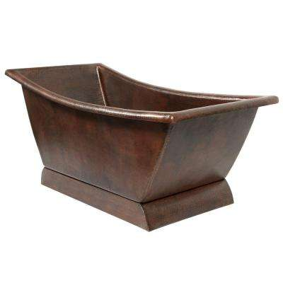 5.58 ft. Hammered Copper Canoa Single Slipper Flatbottom Non-Whirlpool Bathtub in Oil Rubbed Bronze
