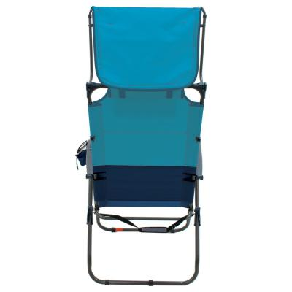 Hi-Boy Blue Sky/Navy Aluminum Patio Canopy Lawn Chair with Head Rest