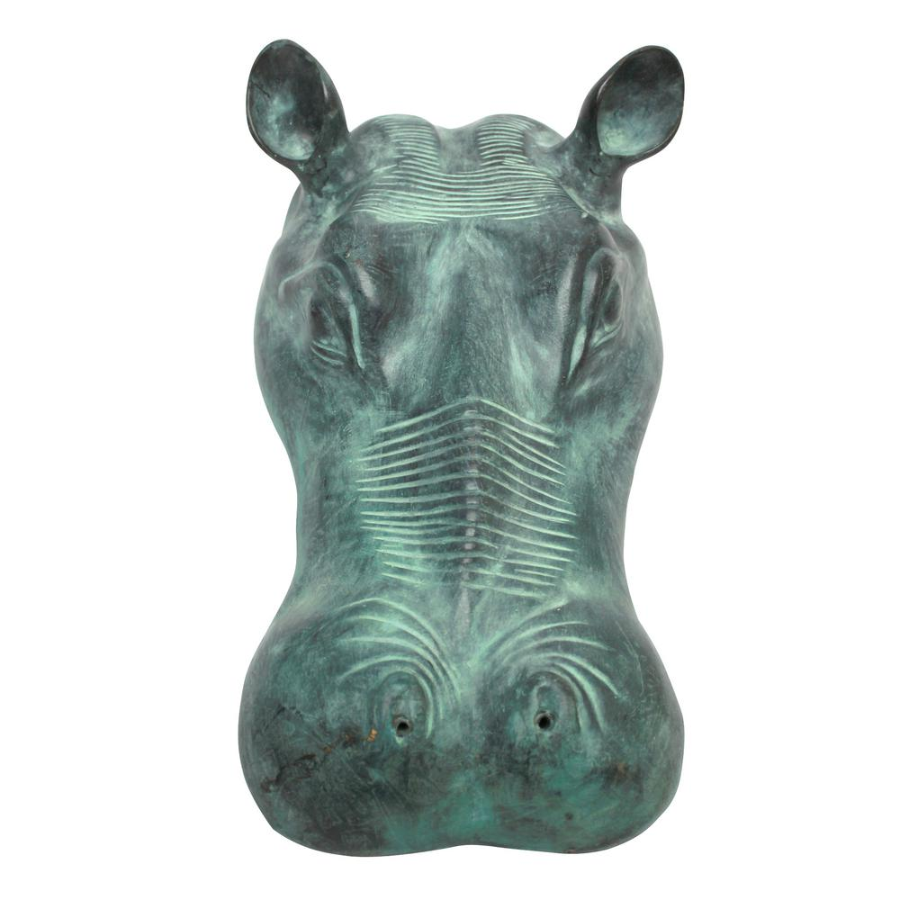 Design Toscano Spitting Hippo Head Cast Bronze Piped Spitting Statue
