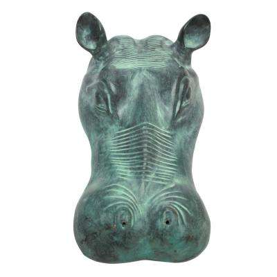 Spitting Hippo Head Cast Bronze Piped Spitting Statue