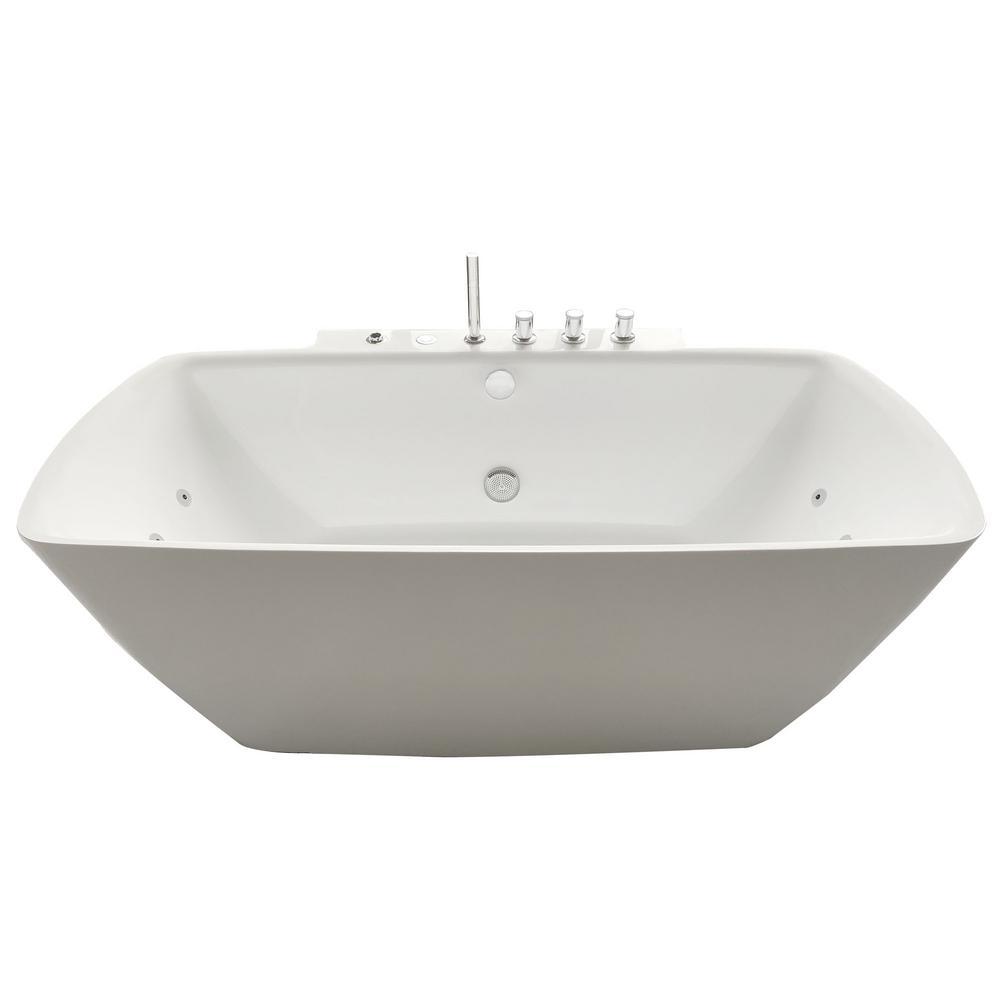 Bianca 68 in. Acrylic Flatbottom Whirlpool Bathtub in White