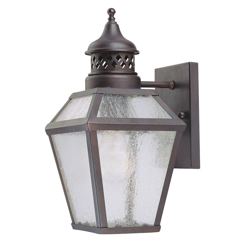 1-Light Outdoor Wall Mount Lantern English Bronze Finish Pale Cream Scavo