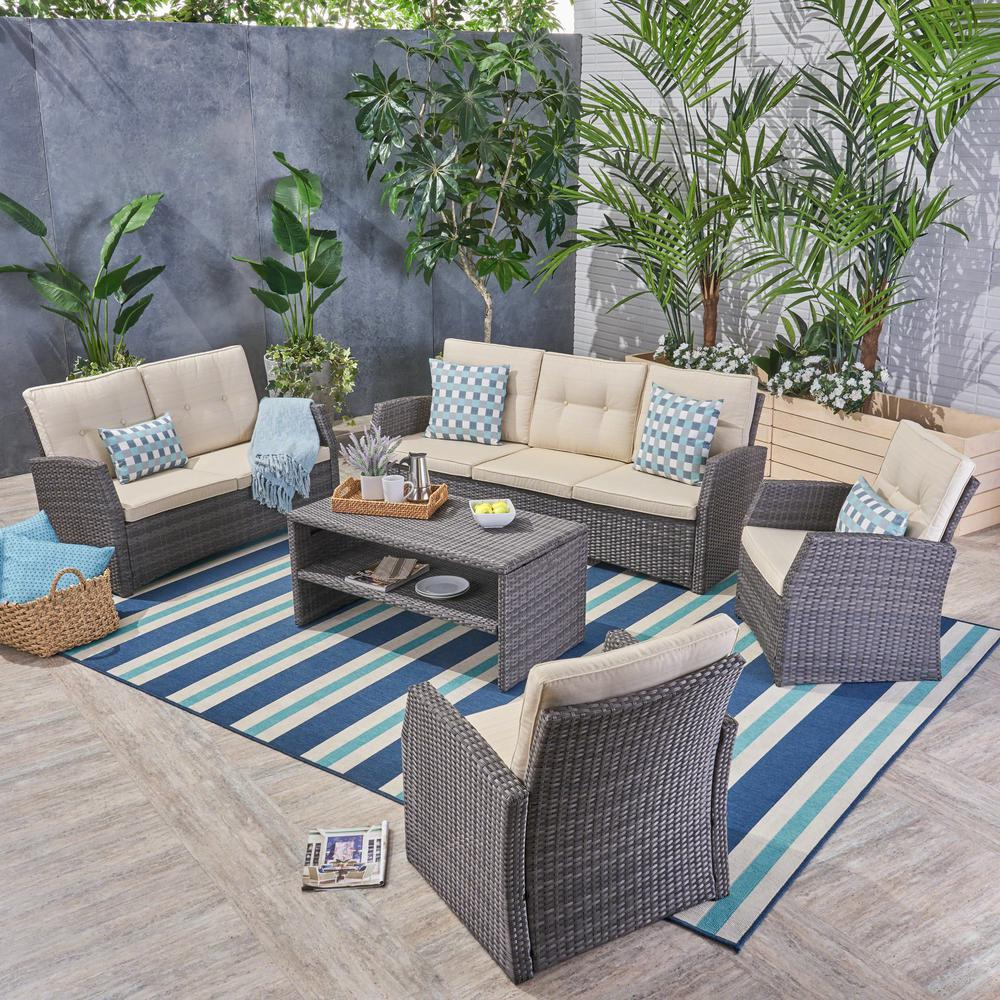 Noble House Sanger Gray 5-Piece Wicker Patio Conversation Set with Beige Cushions