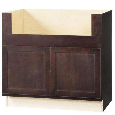 Shaker Assembled 36x34.5x24 in. Farmhouse Apron-Front Sink Base Kitchen Cabinet in Java