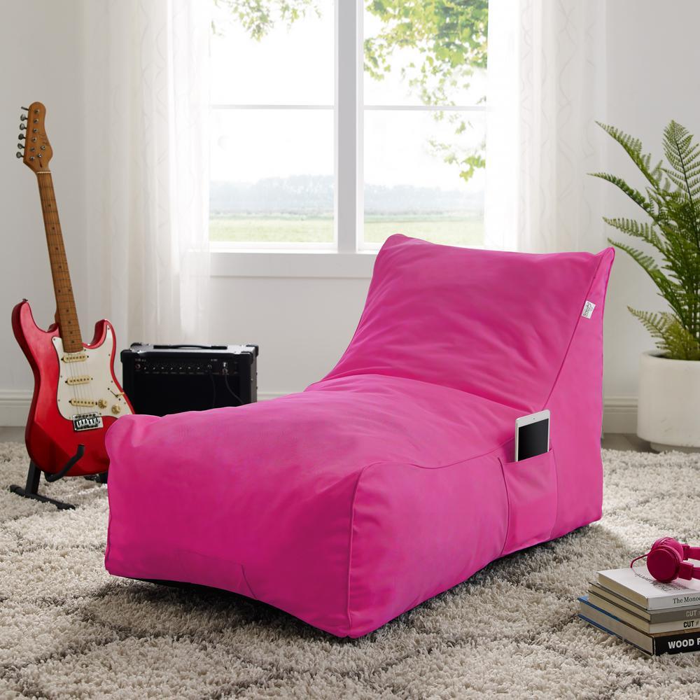 Resty Fuchsia Bean Bag Lounge Chair Nylon Foam Sleeper