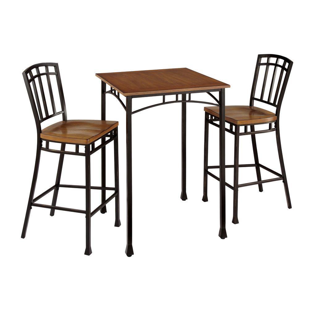 Home Styles Modern Craftsman 3 Piece Deep Brown Bar Table Set 5050