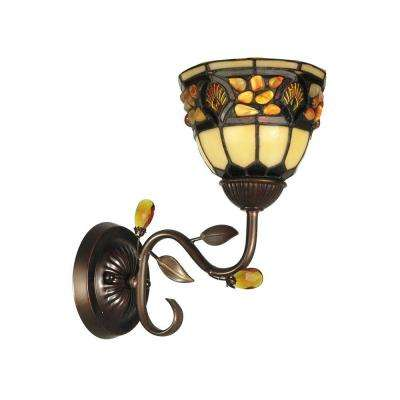 1-Light Antique Golden Sand Pebble Stone Tiffany Sconce