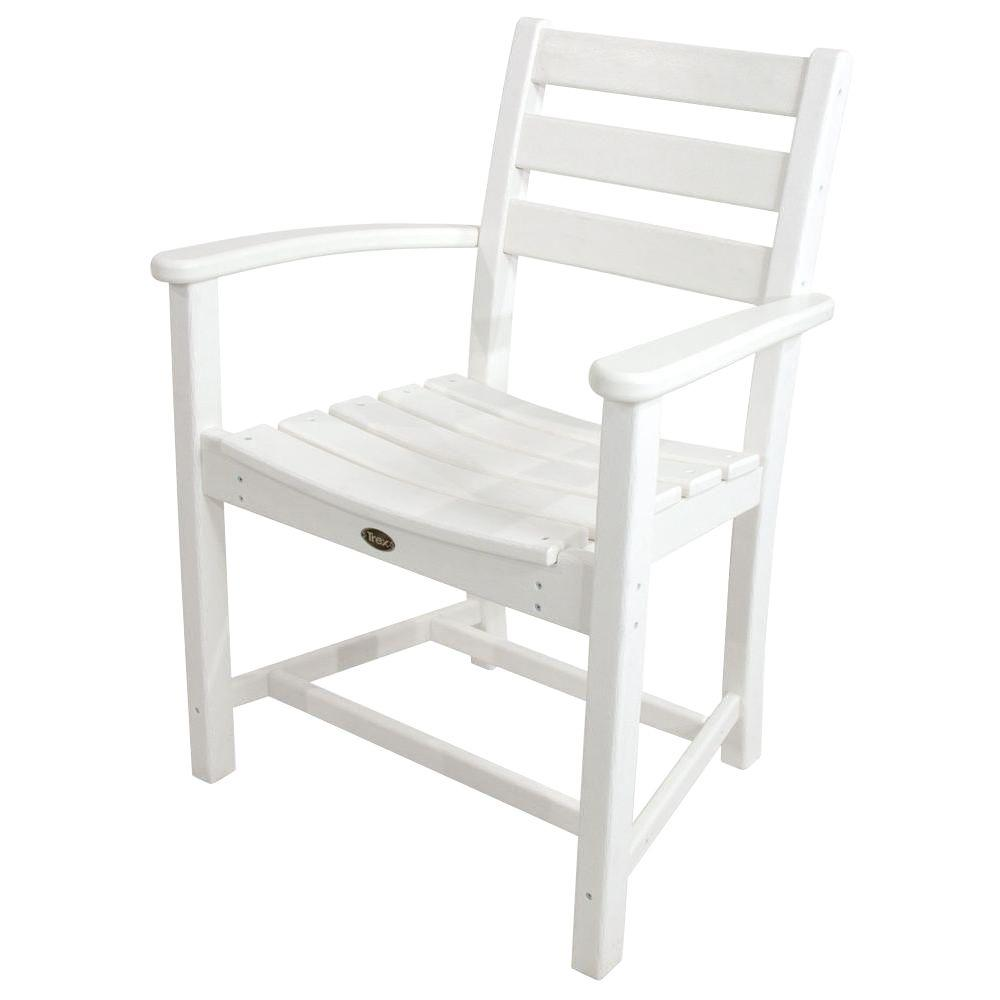Trex Outdoor Furniture Monterey Bay Classic White Plastic Outdoor Patio Dining Arm Chair
