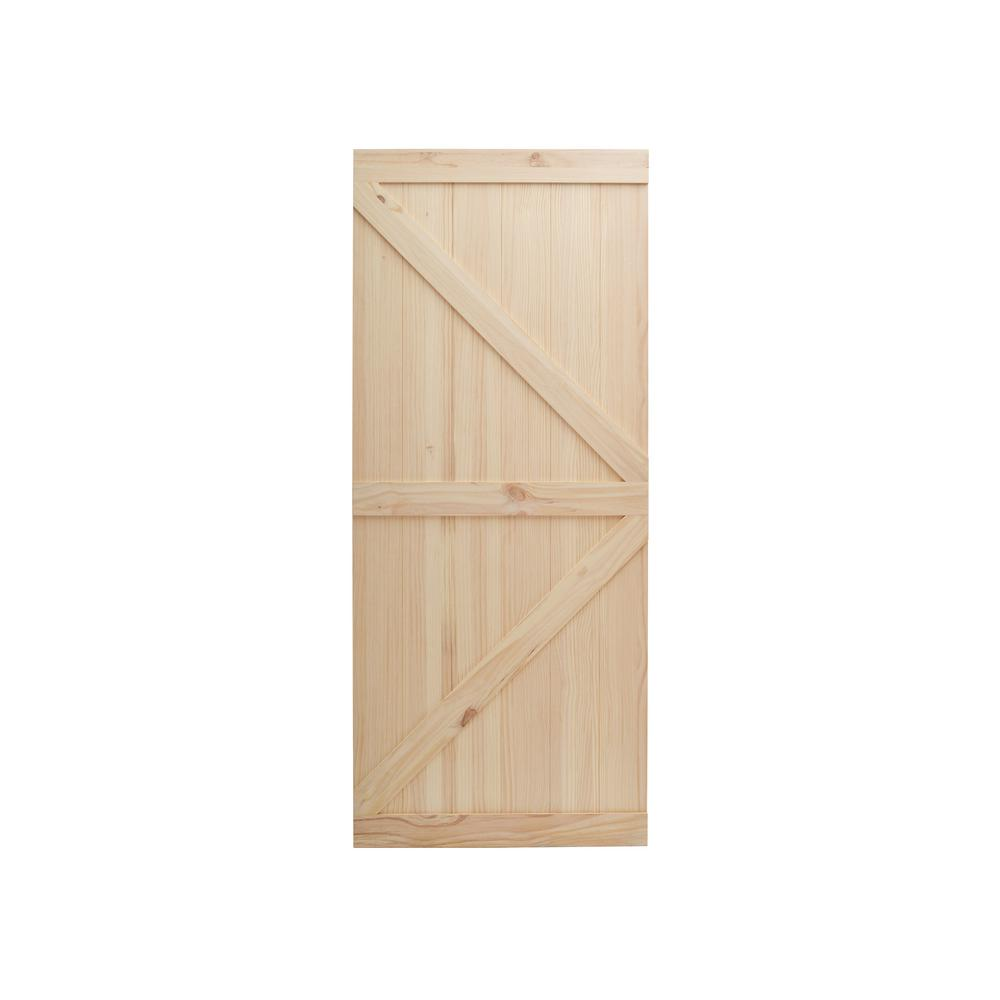 CALHOME 38 in. x 84 in. Unfinished Wooden Sliding Barn ...