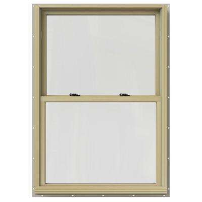 33.375 in. x 60 in. W-2500 Series Desert Sand Painted Clad Wood Double Hung Window w/ Natural Interior and Screen