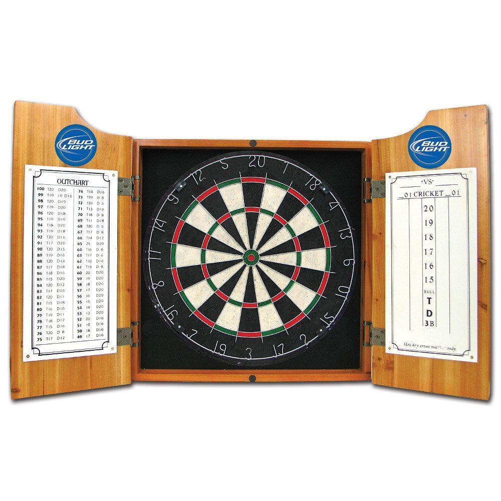 Trademark Wood Finish Dart Cabinet Set - Bud Light