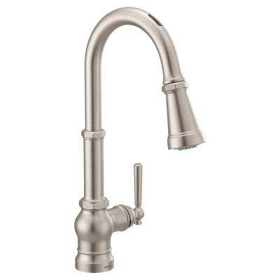 U by Moen Paterson Single-Handle Pull-Down Sprayer Smart Kitchen Faucet with Voice Control in Spot Resist Stainless