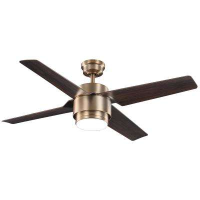 Dinton 52 in. White Color Changing Integrated LED Matte Brass Indoor/Outdoor Ceiling Fan with Light and Remote Control