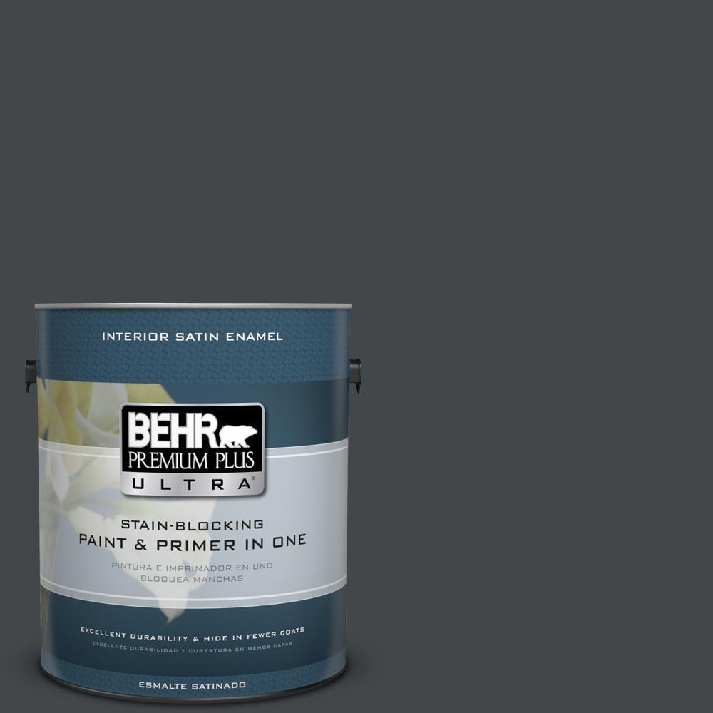 1 gal. #PPU24-23 Little Black Dress Satin Enamel Interior Paint