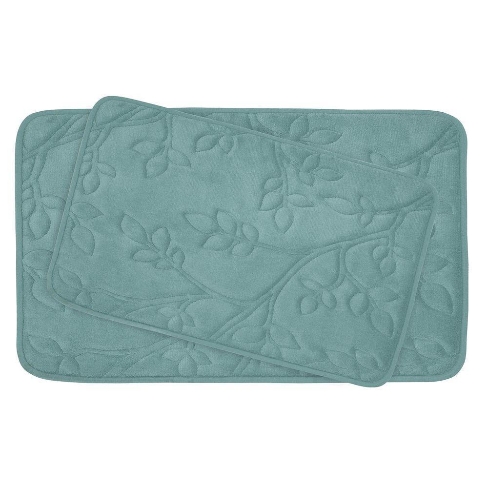 Spring Leaves 17 in. x 24 in./ 20 in. x 30 in. 2-Piece Memory Foam Bath Mat Set in Marine Blue