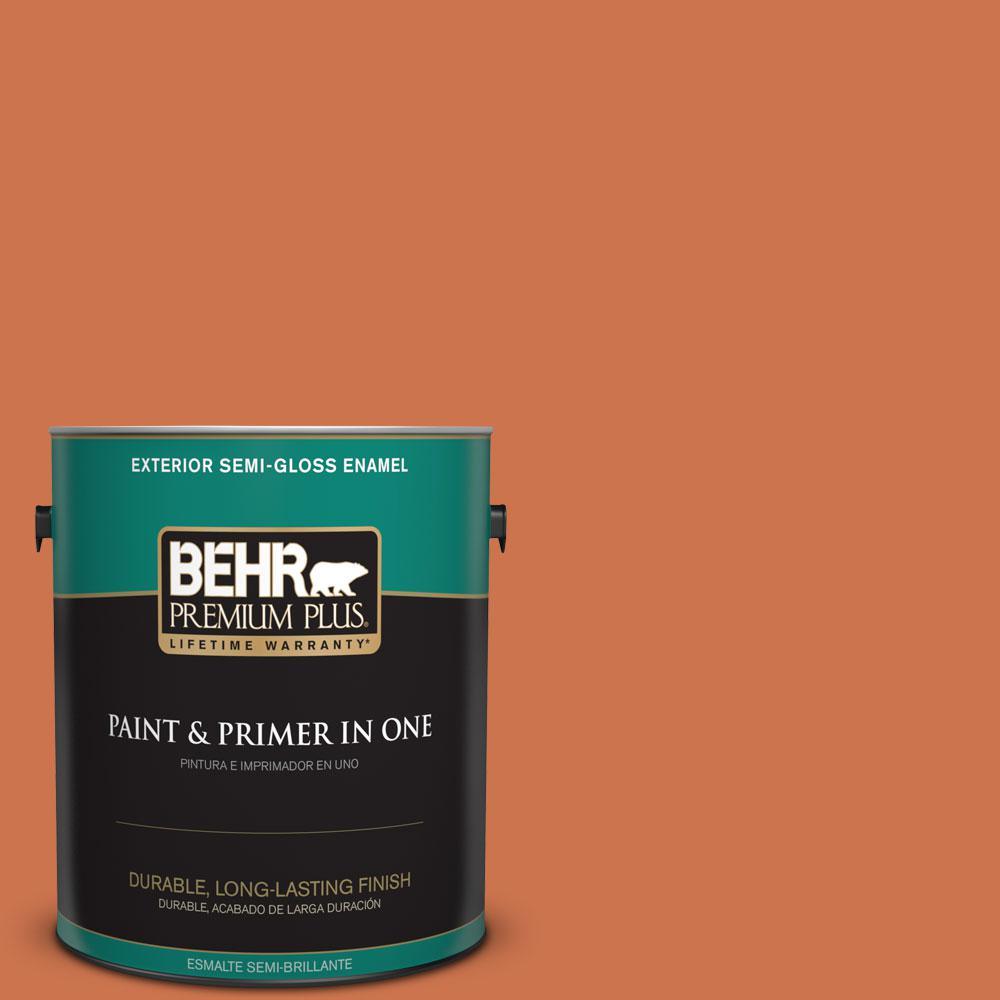 BEHR Premium Plus 1-gal. #PMD-103 Sweet Carrot Semi-Gloss Enamel Exterior Paint