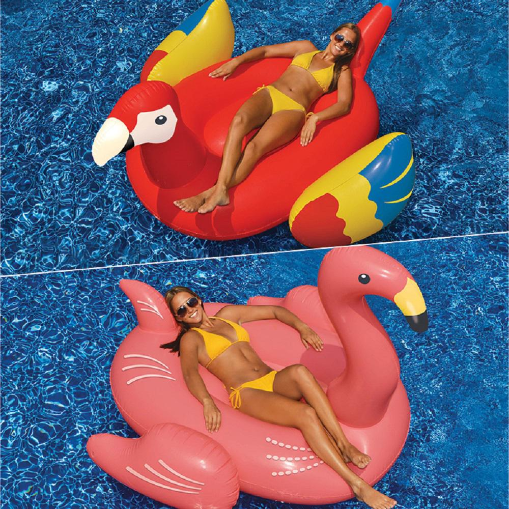 Giant Flamingo and Parrot Swimming Pool Float Combo (2-Pack)