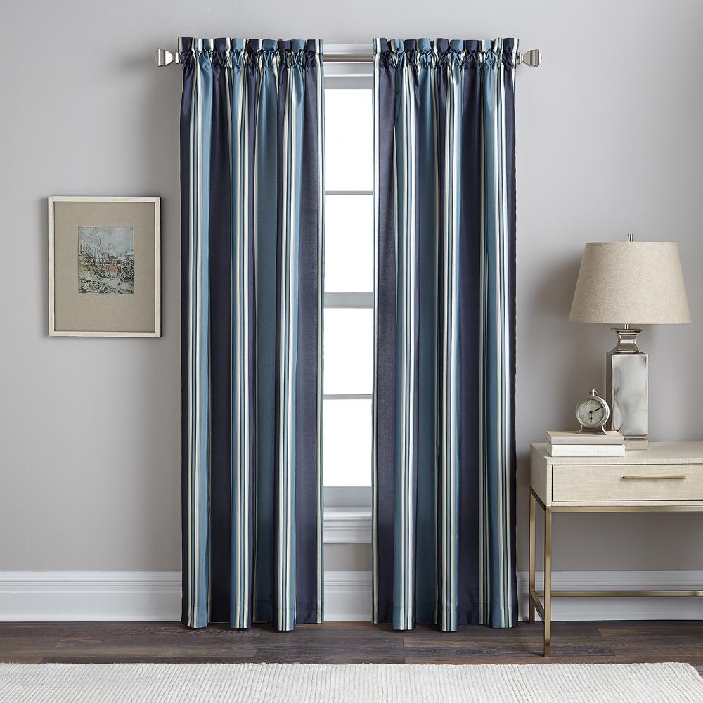 42 in W. x 84 in. L Faux Silk Stripe Panel in Grey