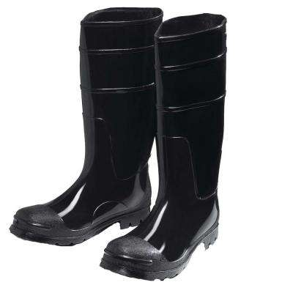 Black PVC Steel Toe Boot Size 8