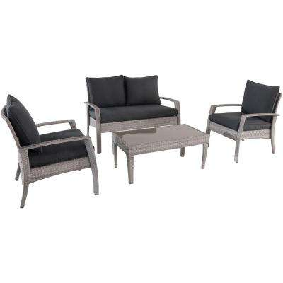 Elemental 4-Piece Wicker Patio Seating Set with Gray Cushions