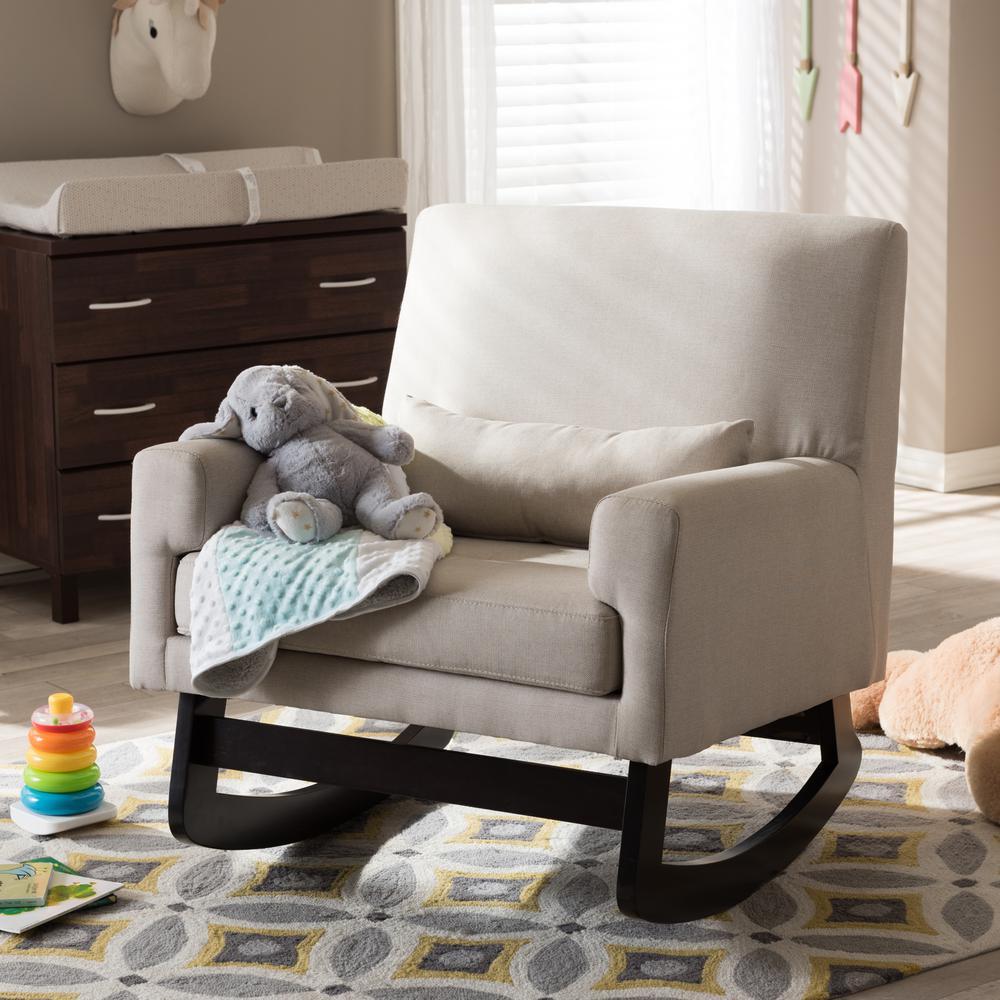 Baxton Studio Blas Light Beige Fabric Rocking Arm Chair