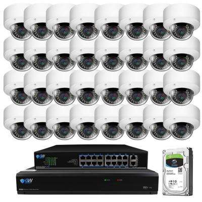 32-Channel with POE Switch H.265 5MP Camera 2.8 to 12 mm Varifocal Zoom Lens 100 ft. Night Vision Digital WDR 8TB HDD