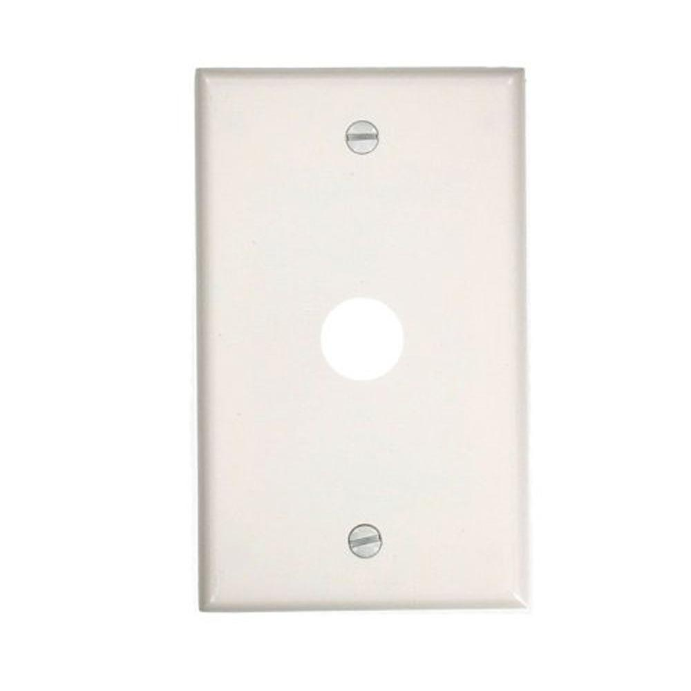 1-Gang Standard Size Plastic Wall Plate and 1.625 in. Dia Phone