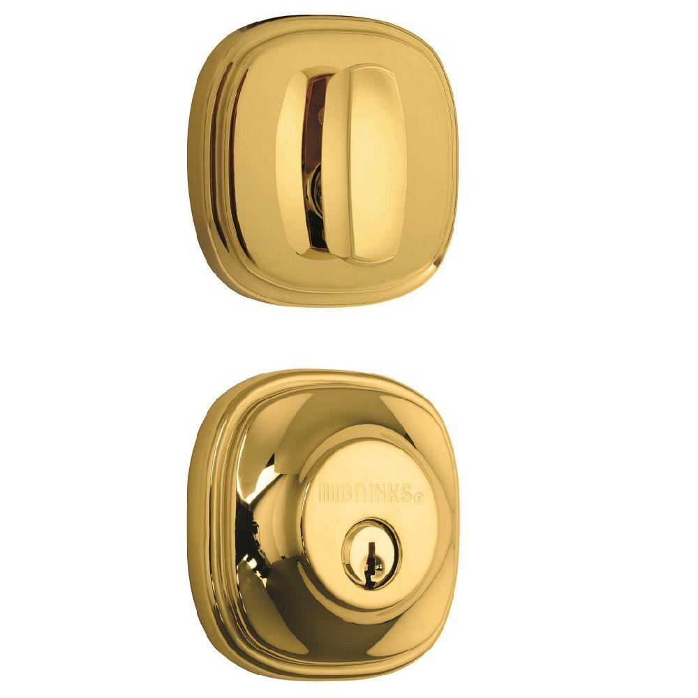 Superbe Brinks Weldon Single Cylinder Polished Brass Push Pull Rotate Deadbolt