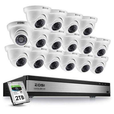 16-Channel 1080p 2TB DVR Security Camera System with 16 Wired Dome Cameras