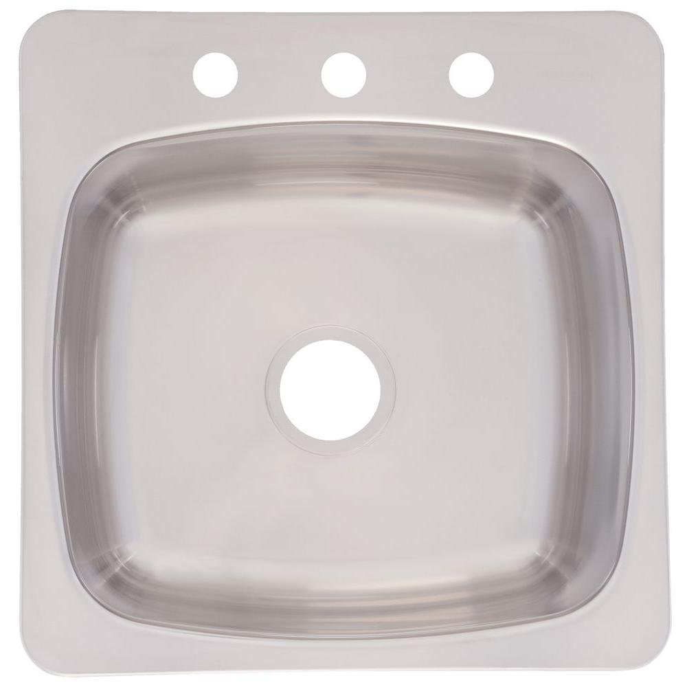 Perfect Franke Drop In Stainless Steel 20 In. 3 Hole Single Basin Prep Sink