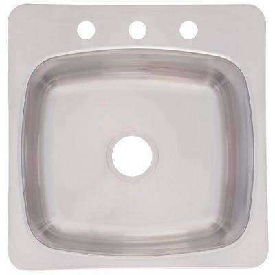 Drop-in Stainless Steel 20 in. 3-Hole Prep Single Bowl Kitchen Sink
