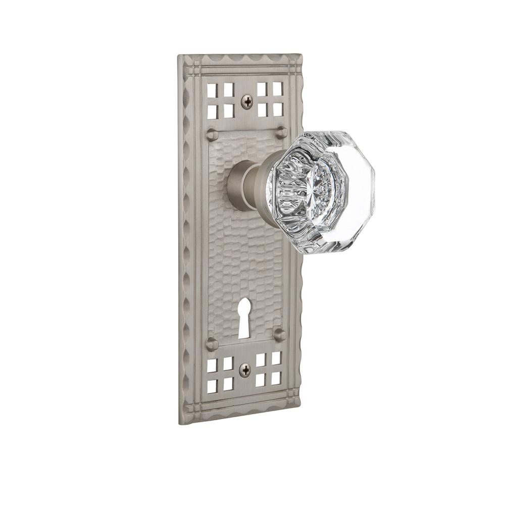 Craftsman Plate with Keyhole 2-3/4 in. Backset Satin Nickel Privacy Waldorf Door Knob