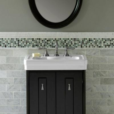 Carrara White 2.5 in. x 11.75 in. Honed Marble Wall Crown Tile