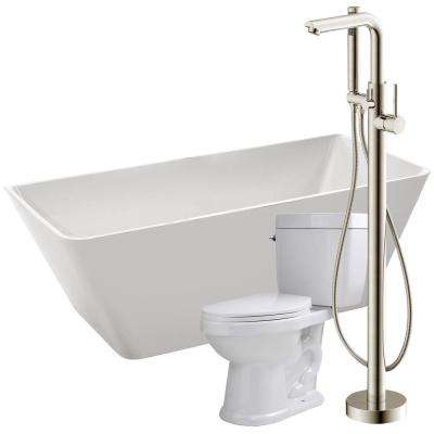 Zenith 67 in. Acrylic Flatbottom Non-Whirlpool Bathtub in White with Sens Faucet and Talos 1.6 GPF Toilet