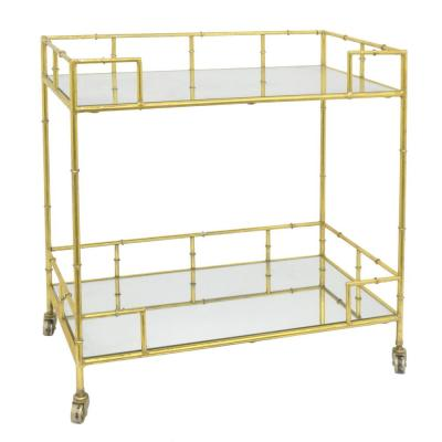 31 in. Gold Metal and Mirrored Bar Cart