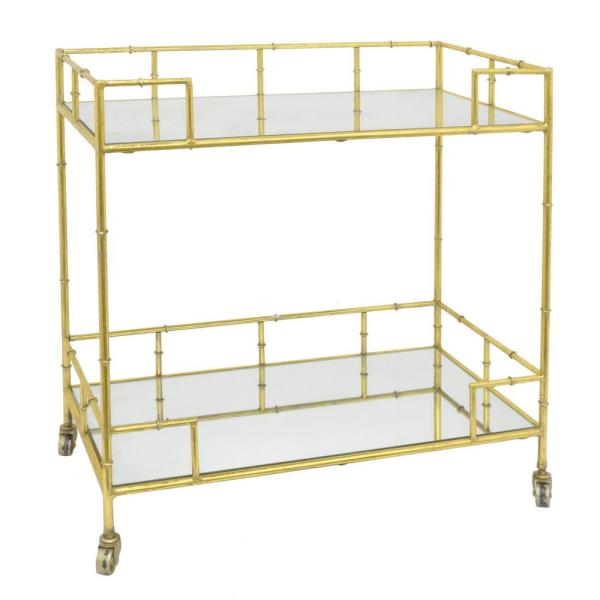 THREE HANDS 31 in. Gold Metal and Mirrored Bar Cart