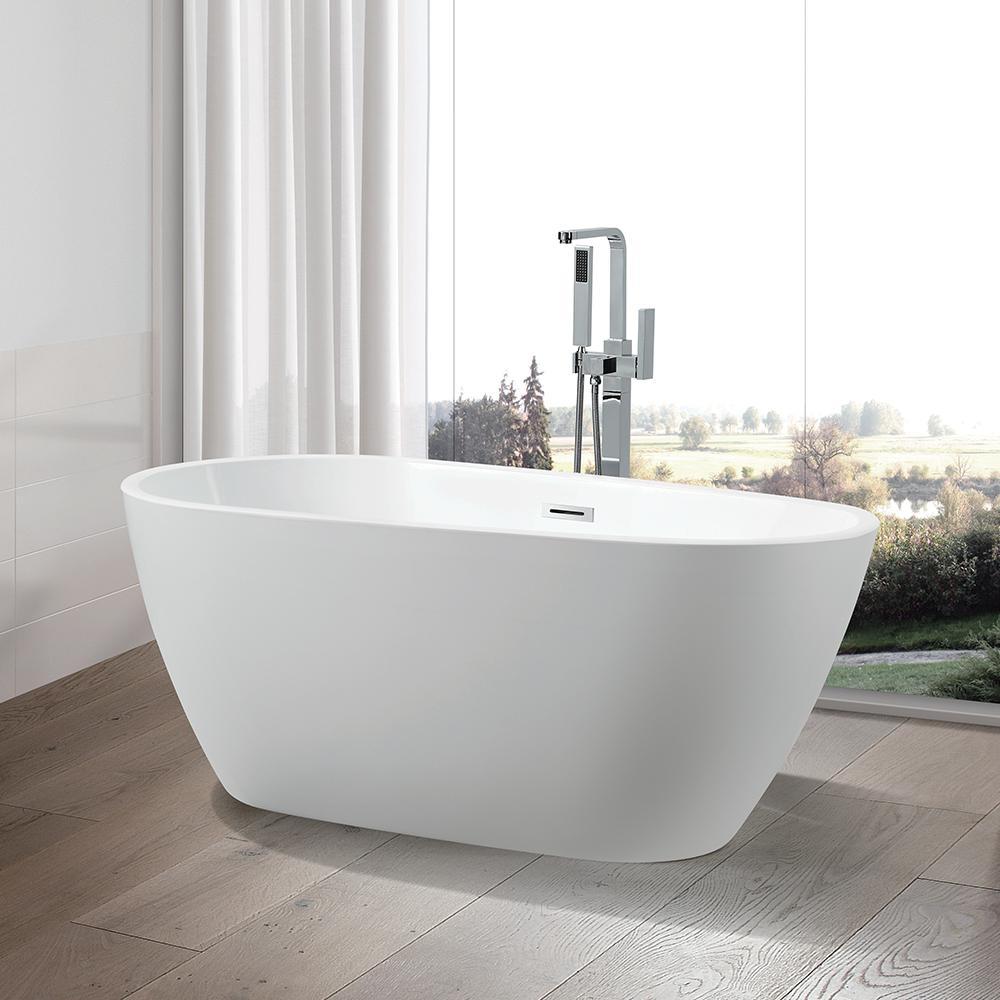 Vanity Art Bayonne 67 in. Acrylic Flatbottom Freestanding Bathtub in White