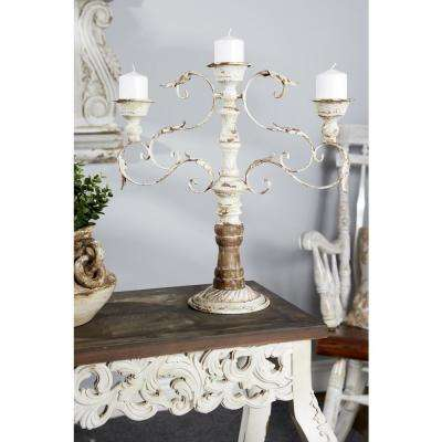 Distressed White Wood and Metal 3-Light Candle Holder
