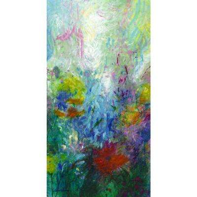 "38 in. x 20 in. ""Ellen's Garden Panel II"" ""By Valentino Bustos"" Hand Painted Boxed Canvas Wall Art"