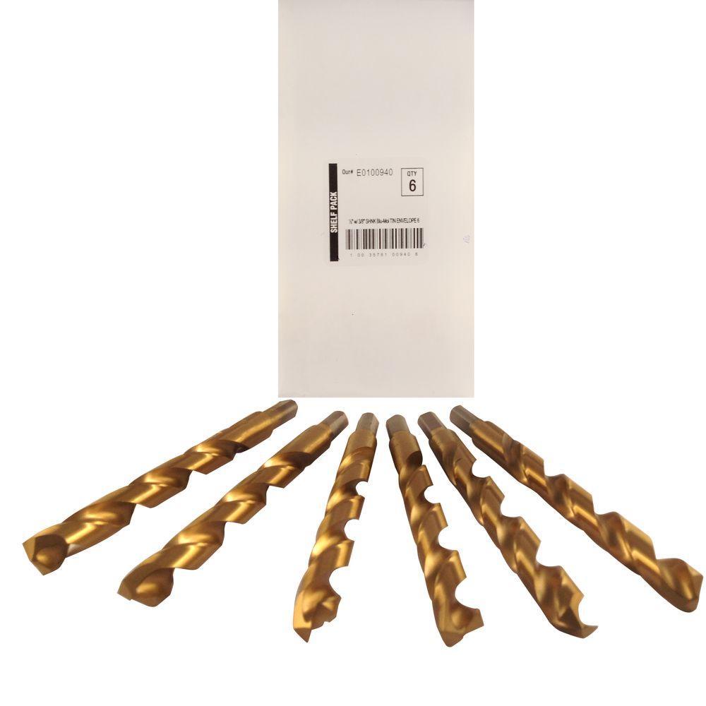 1/2 in. Diameter Titanium Jobber Drill Bit (6-Pack)