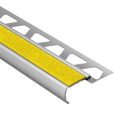 Trep-G-B Brushed Stainless Steel/Yellow 7/16 in. x 8 ft. 2-1/2 in. Metal Stair Nose Tile Edging Trim