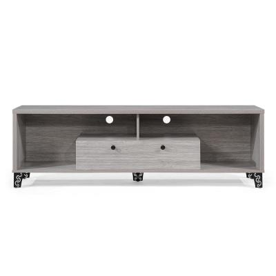 63 in. Grey Oak Particle Board TV Console Fits TVs Up to 50 in. with Cable Management