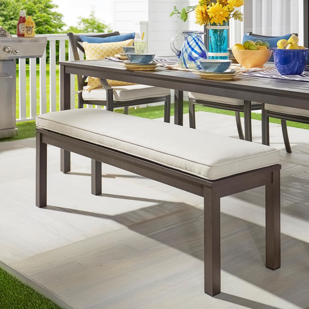 HomeSullivan Thoren Aluminum Outdoor Bench with Beige Cushion by HomeSullivan