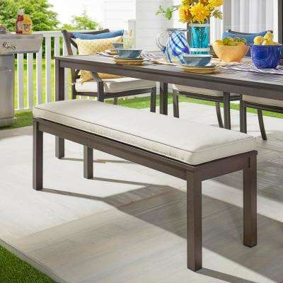 Thoren Aluminum Outdoor Bench with Beige Cushion