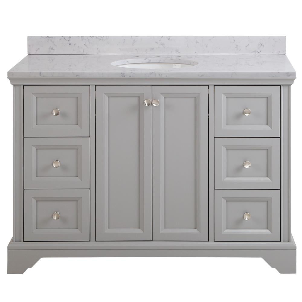 Home Decorators Collection Stratfield 49 in. W x 22 in. D Bathroom Vanity in Sterling Gray with Stone Effect Vanity Top in Pulsar with White Sink