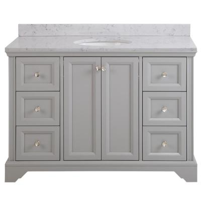 Stratfield 49 in. W x 22 in. D Bathroom Vanity in Sterling Gray with Stone Effect Vanity Top in Pulsar with White Sink