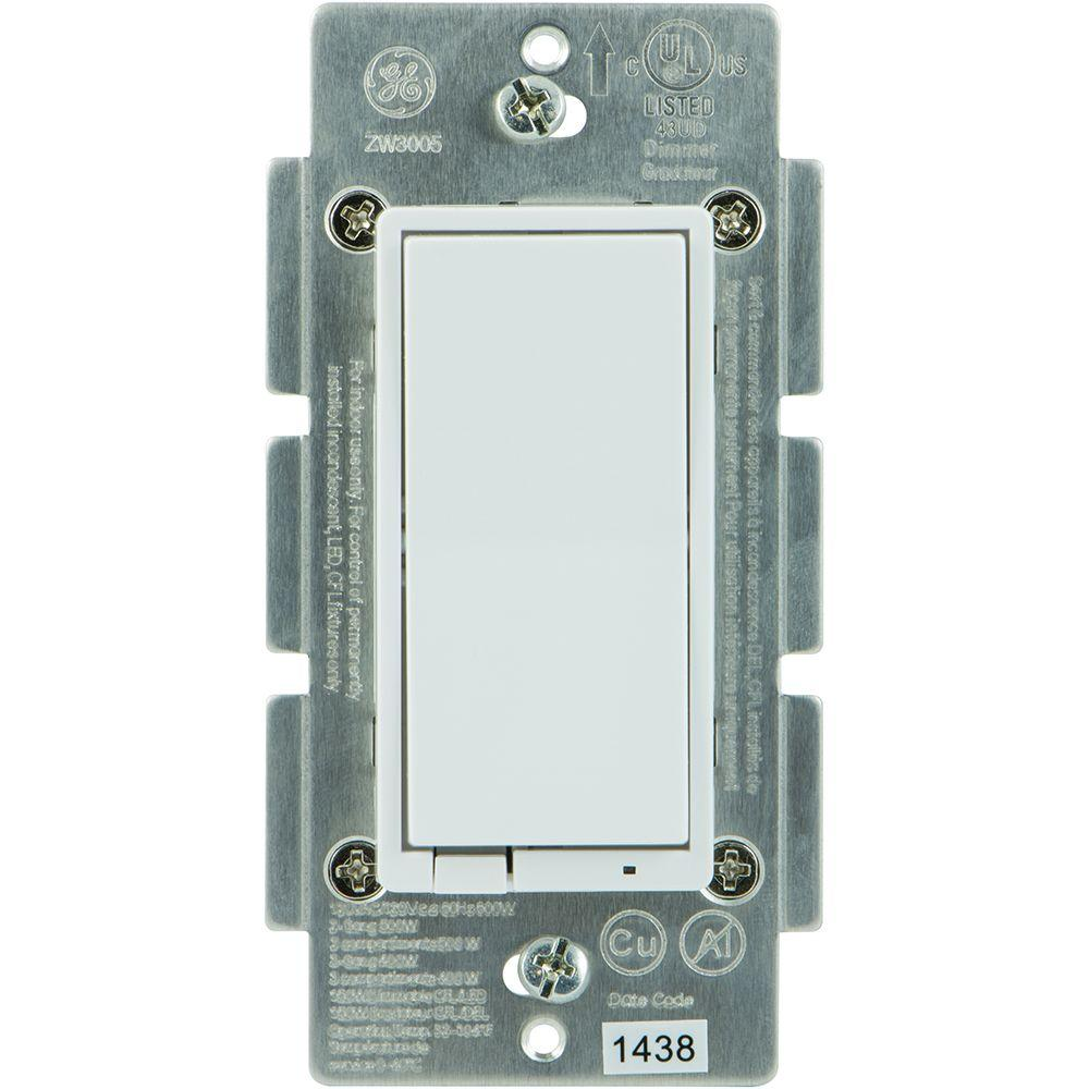 GE Z-Wave 600 Watt CFL-LED Indoor In-Wall Dimmer Switch, Almond/White Paddles