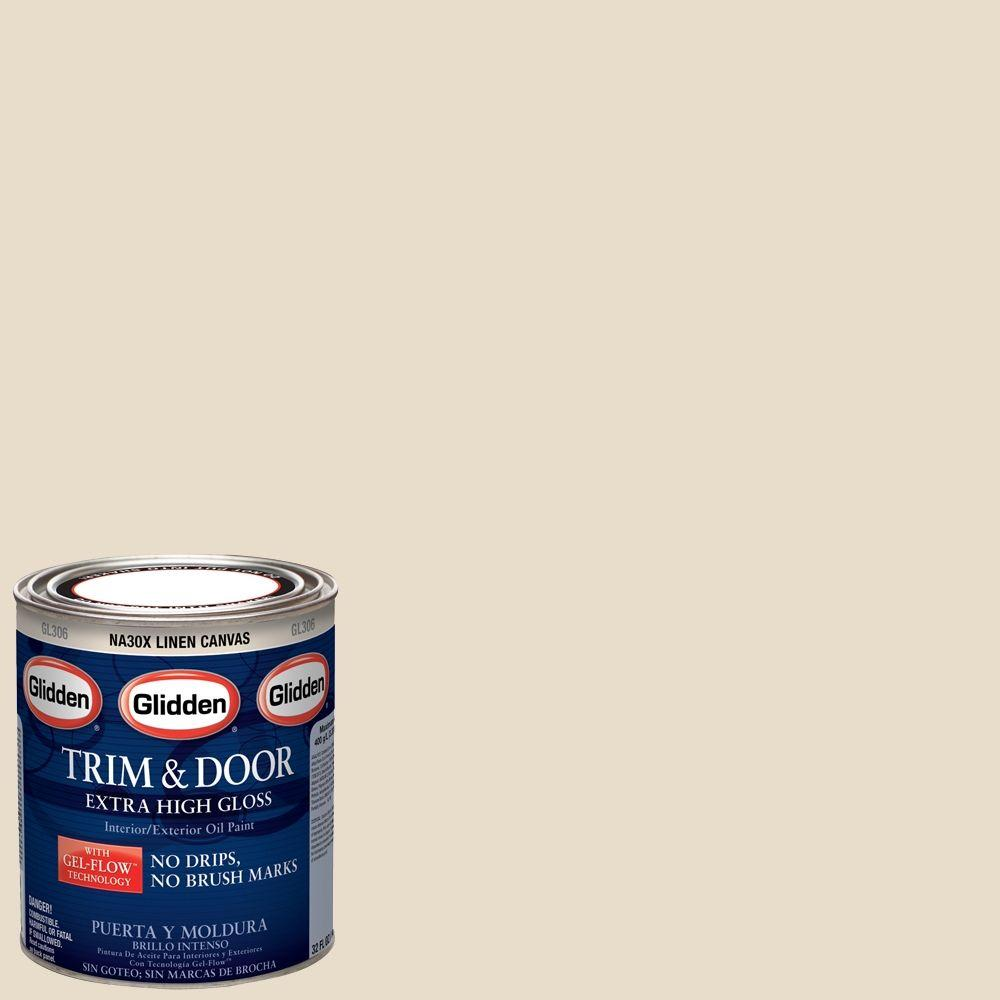 Delicieux Glidden Trim And Door 1 Qt. Linen Canvas Gloss Interior/Exterior Oil Paint