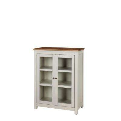 Savannah Ivory With Natural Wood Top Pie Safe Cabinet